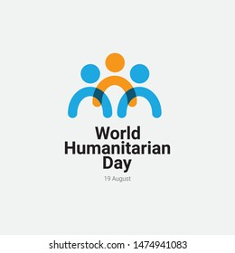 Happy world humanitarian day vector template. Design for greeting cards or print.