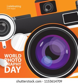 happy world photograpy day creative design concept with vintage camera