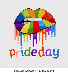 Happy World Pride Day With Different style Rainbow colour lips Vector Illustration.
