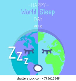 Happy World Sleep Day Poster. Earth with Sleeping Face. Flat and Cute.
