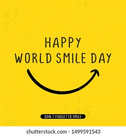 Happy world smile day banner vector illustration greeting design on yellow background