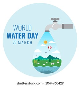 Happy world water day march 22, Water drop, faucet and life with blue background.