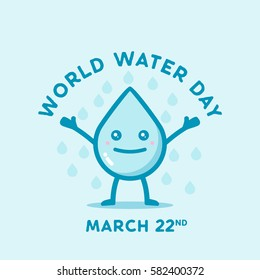 Happy world water day march 22 with water drop cute character
