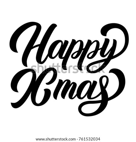 Happy Xmas Brush Hand Lettering Isolated Stock Vector (Royalty Free ...