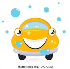 Happy yellow car wash isolated on white