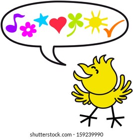 Happy yellow chicken while smiling, clenching its eyes and expressing sweet words through a musical note, a flower, a star, a heart, a clover, a sun and a check mark inside a speech balloon