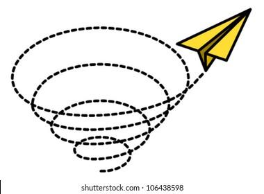 A happy yellow paper plane spiralling upwards in a vortex.