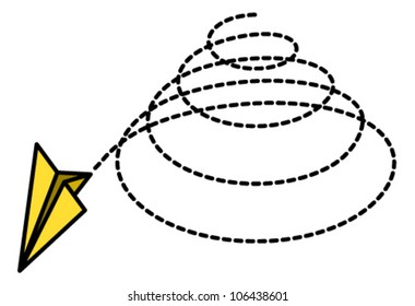 A happy yellow paper plane spiralling downwards in a vortex.