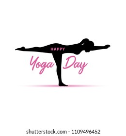 Happy Yoga day greeting background with female silhouette doing yoga pose. isolated on white.