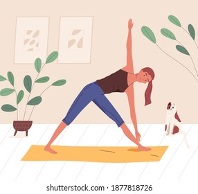Happy yogini enjoying training on mat at home vector flat illustration. Smiling woman practicing yoga, pilates or stretching. Female character doing parivritta trikonasana position