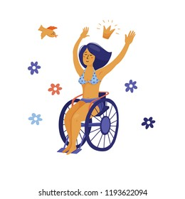 Happy yound woman in bikini sitting in wheelchair, waving hands, flat vector illustration isolated on white background. Young pretty woman, girl in wheelchair wearing bikini, body positive concept