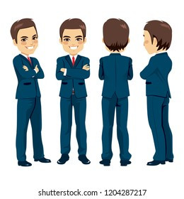 Happy young adult businessman from different angle view