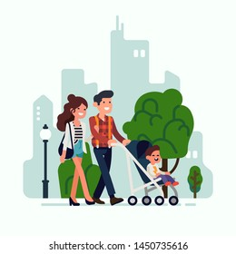 Happy young adult parents walking along a street carrying a stroller with their child. Parenting in city concept vector illustration with mother, father and little kid characters
