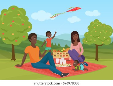 Happy young african american family with kid on a picnic. Dad, mom and son are resting in nature. Vector cartoon illustration.