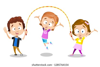 Happy young best friends jumping rope and smiling. Cartoon girls and boy waving hello vector illustration. Fun and sportswear concept. Isolated on white background