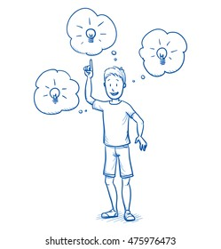 Happy young boy having ideas, pointing to light bulbs in thought bubbles . Hand drawn cartoon doodle vector illustration.