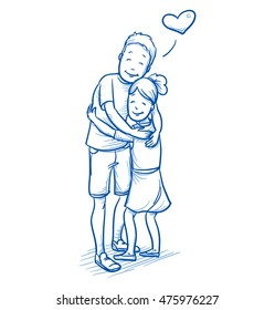 Happy young boy hugging his younger sister, love between brothers and sisters. Hand drawn cartoon doodle vector illustration.