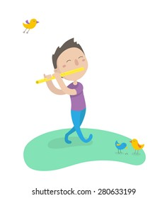 Happy young boy playing on flute on a glade. Flat design. Vector illustration.