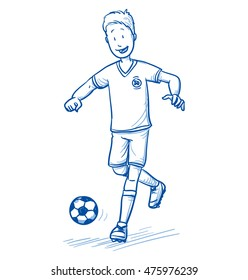 Happy young boy running and playing soccer. Hand drawn cartoon doodle vector illustration.