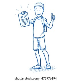 Happy young boy with school bag and an A+ exam or test in his hand. Hand drawn cartoon doodle vector illustration.