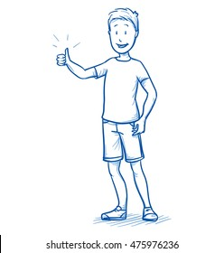 Happy young boy showing thumb up. Hand drawn cartoon doodle vector illustration.