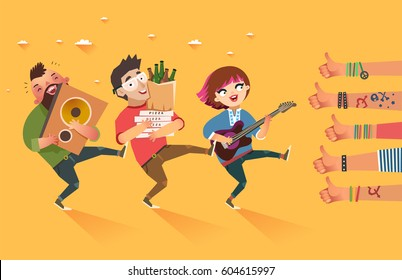 Happy young boys and girl with guitar, loudspeaker and packages of beer, pizza and a lot of hands of young people showing thumbs up hand sign. Students lifestyle