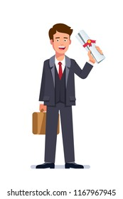 Happy young business man briefcase and holding diploma or certificate scroll with red ribbon seal. Graduate person. Successful qualification and education. Flat vector illustration isolated on white