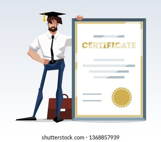 Happy young business man briefcase and holding diploma or certificate scroll with gold seal. Graduate person. Successful qualification and education. Flat illustration isolated on white background