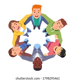 Happy young business student people team huddle. Man & woman group hug each other holding arms in circle together. Aerial top view. Building teamwork, trust, support flat vector character illustration