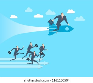 Happy young businessman ahead of its competitors on the rocket The concept of victory. Flat style vector illustration