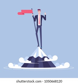 Happy young businessman climbed to the top of the mountain and hoisted flag on it. Man in suit stands on a mountain peak and celebrates victory vector flat. Business concept of winner and success
