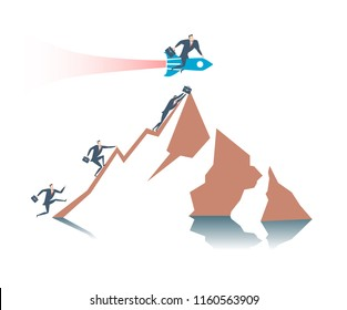 Happy young businessman flies on a rocket ahead of all its competitors and overcoming the obstacle. Runing up to the success. Flat vector illustration