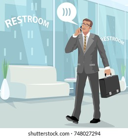 Happy young businessman in gray business suit, walking at office with briefcase in his hand, talking on smartphone and laughs. Man in full growth in restroom at work. Vector illustration