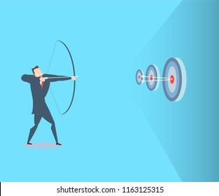 Happy young businessman hits the target. The concept of victory. Flat vector illustration