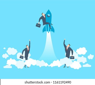 Happy young businessman on the rocket soars up The concept of victory. Teamwork. Flat style vector illustration