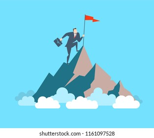 Happy young businessman sets his flag on the top of the mountain. The concept of victory. Flat style vector illustration