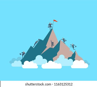 Happy young businessman sets his flag on the top of the mountain. The concept of victory. Runing up to the success. Flat vector illustration
