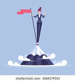 Happy young businesswoman climbed to the top of the mountain and hoisted flag on it. Woman in suit stands on a mountain peak and celebrates victory vector flat. Business concept winner and purpose