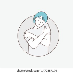 Happy young casual woman hugging herself with natural emotional enjoying face. Love concept by yourself. Hand drawn style vector design illustrations.