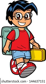 Happy Young Caucasian or Asian Schoolboy Wearing Glasses with Knapsack and Lunch Box