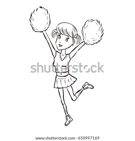 Happy Young Cheerleader Girl Jumping With Pom Poms On Red Uniform Hand Drawn Cartoon