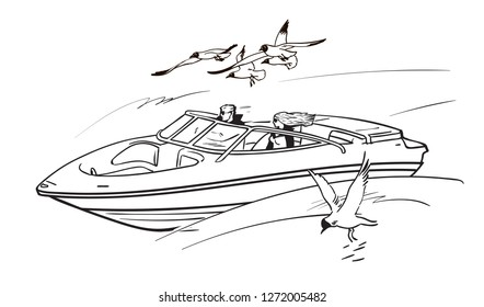 Happy young couple man and woman, driving speed motor boat among flying seagulls. Boy and girl on summer vacation. Sketch style hand drawn vector illustration isolated on white background.