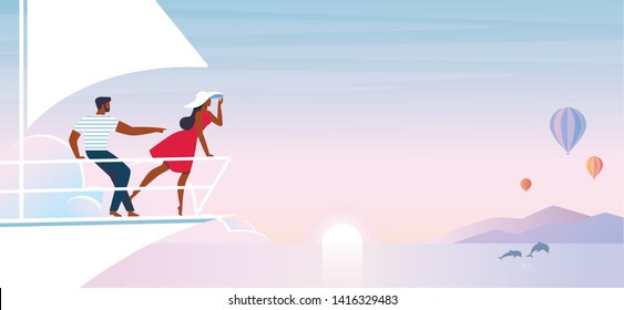 Happy Young Couple on Ship Stern Enjoying Sunset or Sunrise Nature Landscape with Flying Airballoons and Jumping Dolphins in Ocean Waves. Romantic Love Trip, Vacation Cartoon Flat Vector Illustration.