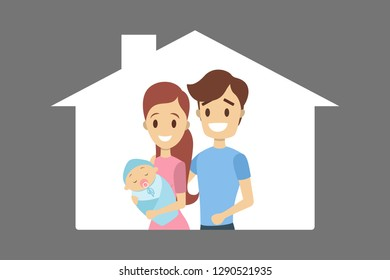 Happy young dad and mom holding baby. Family with newborn child. Cute couple standing together. Isolated flat vector illustration