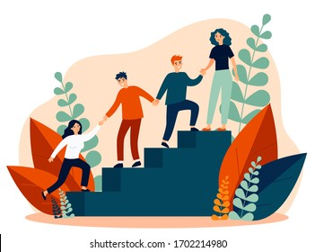 Happy young employees giving support and help each other flat vector illustration. Business team working together for success and growing. Corporate relations and cooperation concept.