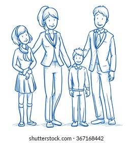 Happy young family in business clothes with two children. Hand drawn line art cartoon vector illustration.