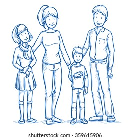 Happy young family in casual clothes with two children. Hand drawn line art cartoon vector illustration.