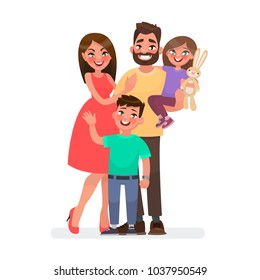 Happy young family. Dad, mom, son and daughter together. Vector illustration in cartoon style