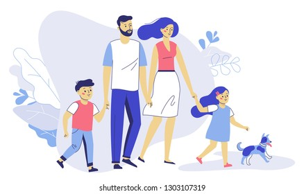 Happy young family dad, mom, son, daughter and dog on walk. Family couple father and mother with children girl and boy walking together. Happiness and love concept.
