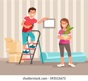 Happy young family man and woman moving to a new home on  Moving Day. Concept design repair and construction of new housing. Vector illustration in flat style.